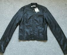 STRADIVARIUS ZARA Woman Black faux leather jacket. size S. BRAND NEW WITH TAGS.