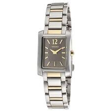 SEIKO WOMENS BLACK DIAL TWO-TONE, SILVER & GOLD SQUARE DRESS WATCH SUJG15