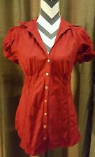Retro GUESS JEANS Red short sleeve button up XL Blouse