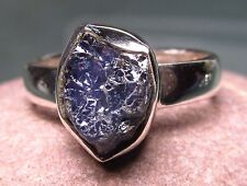 Sterling silver everyday rough blue tanzanite stone ring UK N/US 6.75