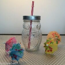 Mason Jam Jar Drinking Glass Summer Cocktail Party Cup Owl Shaped Silver Lid!