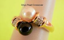 14K Alwand Vahan 2Tone Cream Akoya Pearl Onyx Diamond Crossover Ring Size 6.75