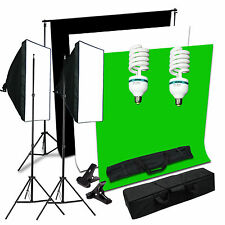 Studio Continuous Softbox Lighting Stand Kit Black Green White Backdrop Support