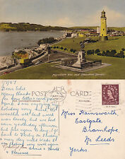 1957 THE HOE & SMEATON TOWER PLYMOUTH DEVON COLOUR POSTCARD