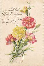 Neujahr, Nelken, Blumen, Prägekarte, 1902