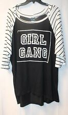 NEW WOMENS PLUS SIZE 3X BLACK & WHITE GIRL GANG THERMAL RAGLAN HOODED SHIRT TOP