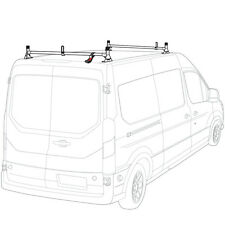 White H1 2 Bar Steel Ladder Roof Rack for a Transit Cargo Van 2015-Newer