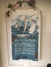 1972 Linen Nautical sailboats dish towel calendar hanging? kitschy Robert Martin