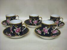 Set of 5 1800 Vieux Paris # 12 cup and # 50 matching saucer black floral VGC