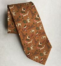 New SALVATORE FERRAGAMO tie necktie Silk brown Hunting Theme Dog Animal Fox