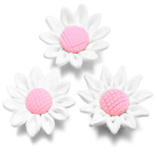 10pcs Lots White Pink Sunflowers Charms FIMO Polymer Clay Beads Jewelry Crafts C