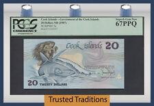 """TT PK 5a 1987 COOK ISLANDS 20 DOLLARS """"INEZ & THE SHARK"""" PCGS 67 PPQ NONE FINER"""