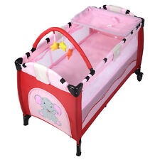 Qualited Pink Baby Crib Playpen Playard Pack Travel Infant Bassinet Bed Foldable