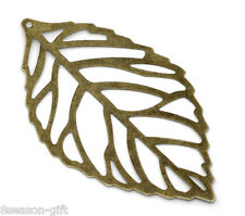 100 Bronze Tone Filigree Leaf Charm Pendants 54x32mm
