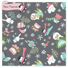 GREY ICE PRINCESS & Animals Camelot Flannel  Fabric By the Yard