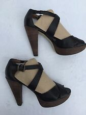 Hive & Honey Anthropologie Black Leather Strappy Platform High Heels Sz 8 Medium