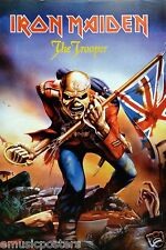 "IRON MAIDEN ""THE TROOPER"" POSTER FROM ASIA - Classic Eddie Holding U.K. Flags"