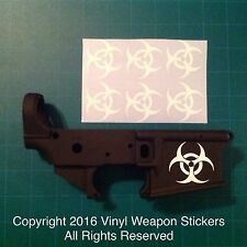 BIOHAZARD AR 15 Receiver Sticker 6 Pack, M4, Brand New, WHITE!