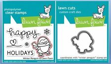 Lawn Fawn Photopolymer Clear Stamps 6ct + Dies ~ WINTER PENGUIN ~ LF727, LF728