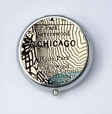 Chicago Illinois PILL case pill box pillbox holder Map