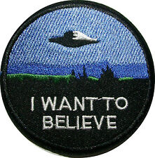 "3"" I Want to Believe TV MOVIE X-Files Embroidered SEW ON IRON ROUND Patch"