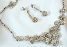 Vintage stunning wedding set/bridal/ball diamante flowers necklace and earrings