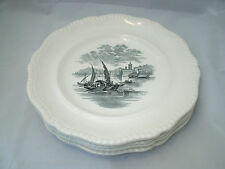 "Spode Copeland 4-10 5/8"" Dinner Plates GADROON Rope Edge w/Sail Boat Transfer EC"