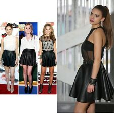 BOX PLEAT BLACK  FAUX LEATHER SKATER SKIRT ONE SIZE REGULAR CELEBRITY STYLE