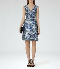 *New* REISS Ice Blue Alium Floral Printed Dress  ~ Size UK 10