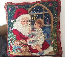 SANTA 's LAP claus NEEDLEPOINT child baby CHRISTMAS sofa throw PILLOW