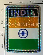 """Reflective Sticker India Flag Indian 3x4"""" Inches Adhesive Car Bumper Decal"""