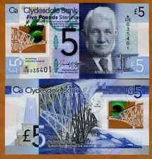 Scotland, Clydesdale Bank, 5 pounds,  2016, P-New, POLYMER, UNC   New Sign.