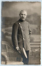 Antique WW1 GERMAN Real Photo RPPC Postcard HANDSOME OFFICER Soldier in Uniform