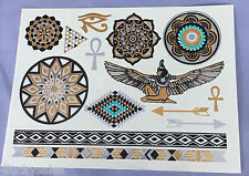Fashionable Temporary Metallic Tattoo Gold Silver Black Flash Tattoos Egyptian