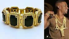 MENS ICED OUT HIP HOP RAPPERS STYLE YELLOW GOLD FINISH BLACK ONYX RUBY BRACELET