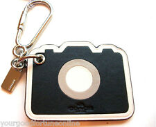 NWT COACH Black WHITE LEATHER CAMERA KEY Chain  RING FOB BAG CHARM 54913