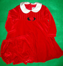 GOOD/LAD~girl's~CHRISTMAS/2/PC/RED/VELOUR/DRESS/&/BLOOMERS! (18/MO) euc! CUTE!