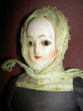 Lovely 1835-45, FRENCH antique papier mache doll, glass eyes  & Biedermeier pate