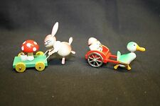 Vintage Easter Duck and Rabbit Goula Spain Wood Figurines