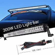 "40"" 300W Curved Flood Spot LED Work light Bar with 3M Wiring Harness Offroad SUV"