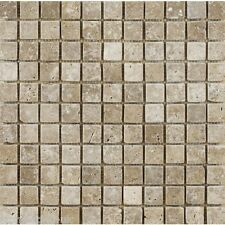"Sample of Tumbled WALNUT (Noce) Travertine MOSAIC Tiles 23 x 23 mm (1"" x 1"")"