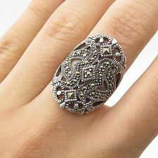 NF 925 Sterling Silver Real Marcasite Gemstone Wide Ring Size 6