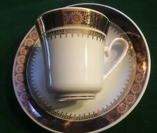 Estate Made in Czechoslovakia cobalt blue and Gold Trim Cup Saucer Set*