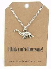 """I think you're Rawrsome!"" Quirky Dinosaur Silver Necklace Message Gift New"