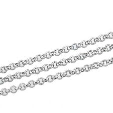 "10M New Silver Tone Stainless Steel Link-Opened Chain For Necklace 2.5mm(1/8"")"