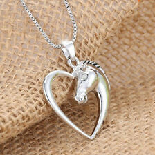 HORSE & WESTERN JEWELLERY JEWELRY LADIES HEART SHAPE HORSE NECKLACE SILVER