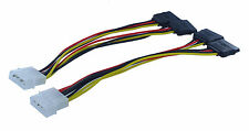 2 PCS 4Pin Molex to 2X 15Pin Serial ATA SATA HDD Adapter Power Cable(C-614-2PK)
