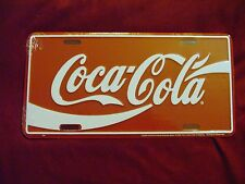 COCA COLA Red White Classic Logo Metal License Plate Tag New!