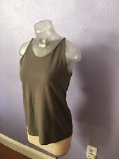 EILEEN FISHER $198 Grey Casual Tank Top w Light Shelf Bra S GORGEOUS COLOR
