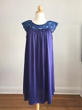 GORGEOUS VTG GILEAD Purple & Blue Nylon & Lace Nighty Nightgown SZ M Perfect!